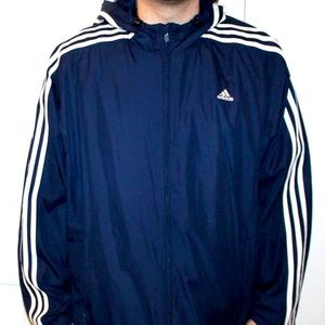 Adidas Navy Blue Hooded Windbreaker